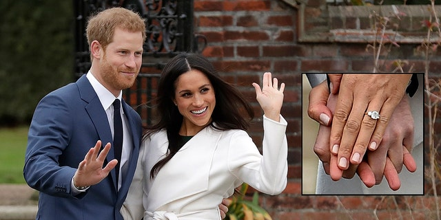 Meghan Markle and Prince Harry pose for photos and show off her engagement ring.