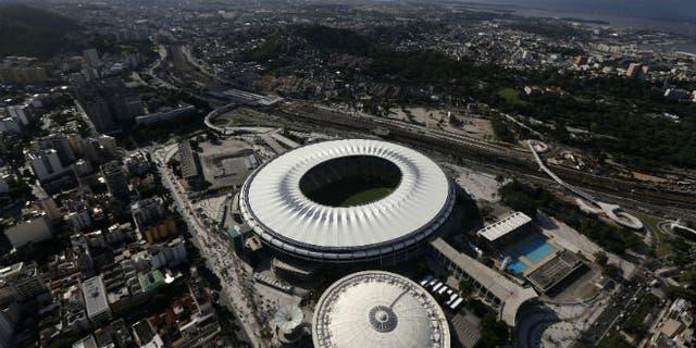 An aerial shot shows the Maracana stadium, one of the stadiums hosting the 2014 World Cup soccer matches, in Rio de Janeiro. (REUTERS/Ricardo Moraes)