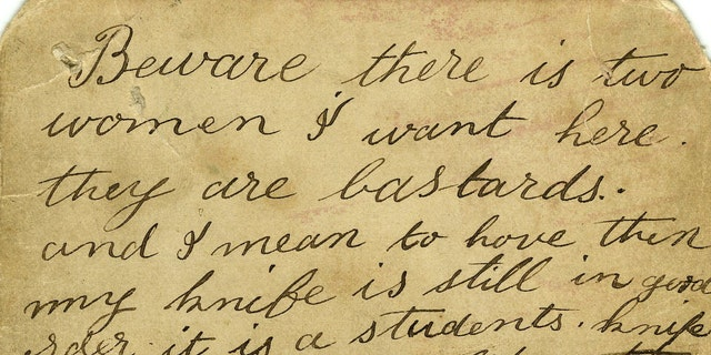 The chilling note, which details a sickening crime, is up for auction in the U.K.