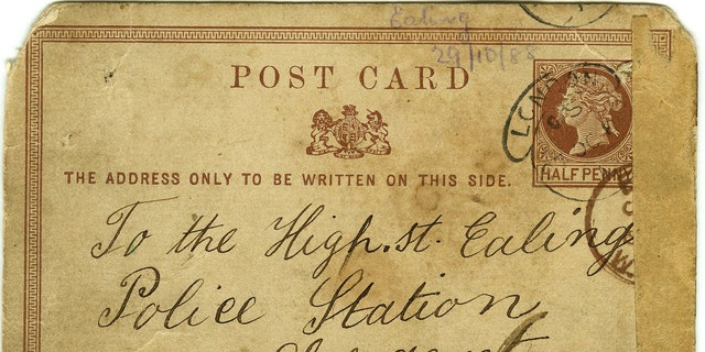 The macabre note was sent to police in London in 1888