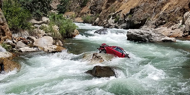 This car containing two bodies went off a cliff in Fresno County, California, July 26.