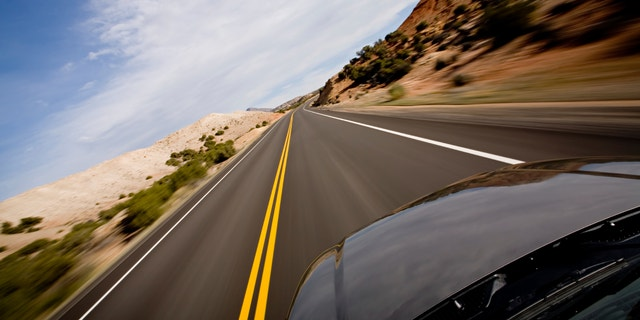 drive through the Bighorn Canyon in Northern Wyoming, motion blur as shot