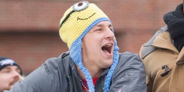 BOSTON, MA - FEBRUARY 4: Patriots tight end Rob Gronkowski yells to fans during the New England Patriots victory parade on February 4, 2015 in Boston, Massachusetts. (Photo by Scott Eisen/Getty Images)