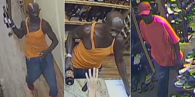 A man is wanted in connection with two violent robberies.