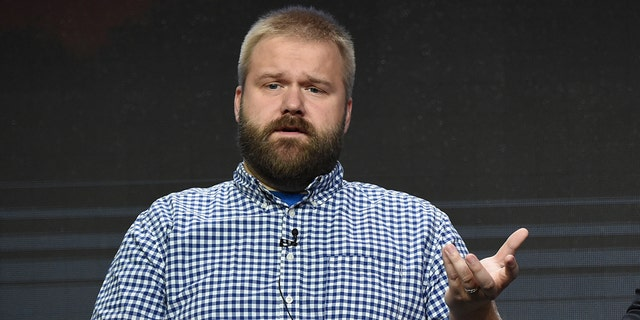 """Robert Kirkman participates in the """"AMC Visionaries"""" panel during the AMC and Sundance TV Television Critics Association Summer Press Tour at the Beverly Hilton on Saturday, July 29, 2017, in Beverly Hills, Calif. (Photo by Richard Shotwell/Invision/AP)"""