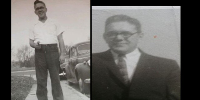 Photo (l) shows Robert Ivan Nichols holding a pistol in 1950s. Photo (r) shows Nichols in the 1960s.