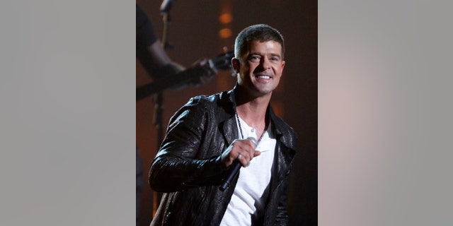 May 18, 2014. Singer Robin Thicke performing at the 2014 Billboard Music Awards in Las Vegas, Nevada.