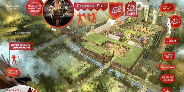 A sketch of the proposed theme park in Sherwood Forest, Discover Robin Hood.