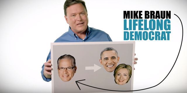 """""""Mike Braun - he is a lifelong Democrat. He voted for Obama or Hillary,"""" Rep. Todd Rokita said in a recent television ad."""