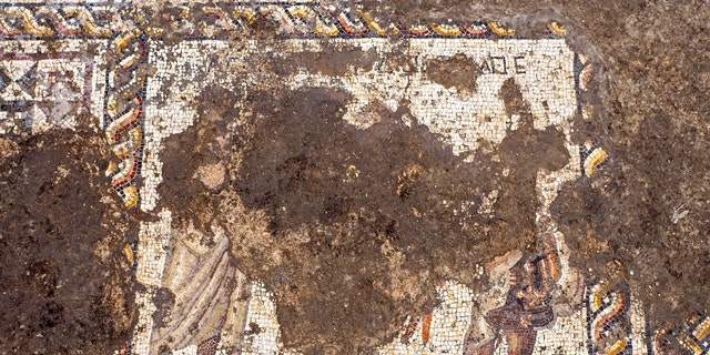 Part of the mosaic has been damaging by the construction of a Byzantine-era building. (Photo: Assaf Peretz, Israel Antiquities Authority)