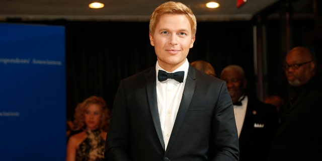Apri.l 25, 2015. Journalist Ronan Farrow arrives for the annual White House Correspondents Association dinner in Washington.