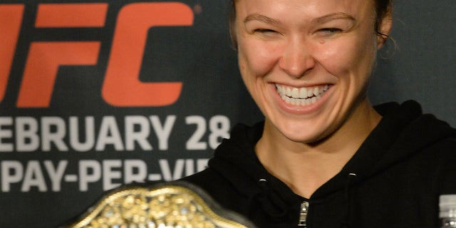 Feb 28, 2015; Los Angeles, CA, USA; Ronda Rousey at the post fight press conference for UFC 184 at Staples Center. Mandatory Credit: Jayne Kamin-Oncea-USA TODAY Sports - RTR4RLC5