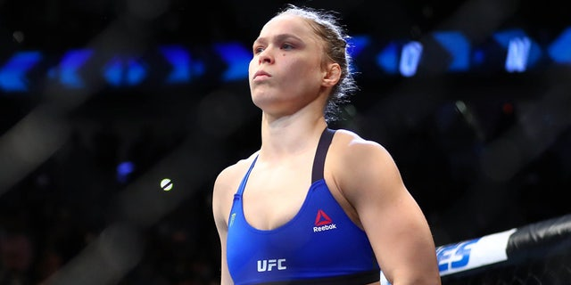 December 30, 2016; Las Vegas, NV, USA; Ronda Rousey before her match against Amanda Nunes during UFC 207 at T-Mobile Arena. Mandatory Credit: Mark J. Rebilas-USA TODAY Sports - RTX2X0JS