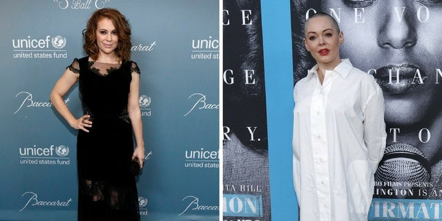 Alyssa Milano was slammed online by Rose McGowan for supporting Harvey Weinstein's estranged wife.