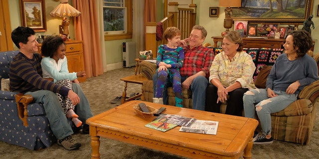 "ROSEANNE - Iconic comedy series ""Roseanne"" returns to The ABC Television Network on Tuesday, March 27, at 8 p.m. EDT, with nine new episodes featuring the complete original cast - Roseanne Barr, John Goodman, Sara Gilbert, Laurie Metcalf, Michael Fishman and Lecy Goranson. Sarah Chalke, who played the character Becky in later seasons, will also appear in another role. New cast joining the one-of-a-kind Conner family includes Emma Kenney as Harris Conner-Healy, Ames McNamara as Mark Conner-Healy and Jayden Rey as Mary Conner. With fresh stories that tackle today's issues and even more laughs from a brilliant cast and crew that haven't missed a beat, audiences old and new will celebrate the homecoming of America's favorite working-class family. (ABC/Adam Rose)