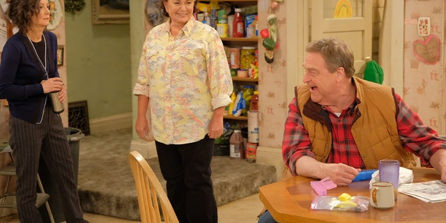 "A Conner family moment in ""Roseanne."""