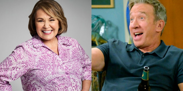 """Roseanne Barr (left) said making her TV counterpart a Trump supporter made sense for the show about a working-class American family. Tim Allen (right) played played Mike Baxter who is also politically conservative on the canceled show """"Last Man Standing."""""""