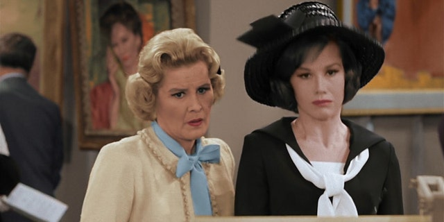 Rose Marie (left) and Mary Tyler Moore (right) appear in an episode of the 'Dick Van Dyke Show'