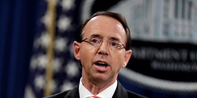 Rod Rosenstein addressed the charges during a news conference on Friday, July 13, 2018.