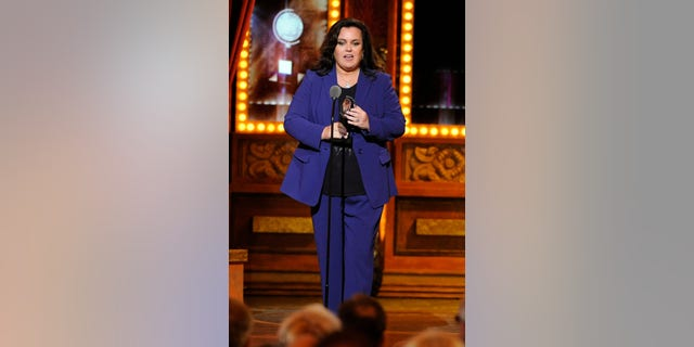 June 8, 2014. Rosie O'Donnell accepting the Isabelle Stevenson Award on stage at the 68th annual Tony Awards at Radio City Music Hall in New York.