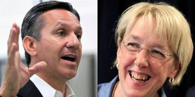 Shown here are Washington Republican Senate nominee Dino Rossi, left, and Democratic Sen. Patty Murray. (AP Photos)
