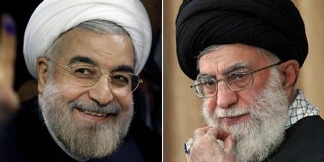 "Iran's so-called ""moderate"" president-elect, Hasan Rowhani, (l.) still must answer to Supreme Leader Ali Khamenei, (r.). (AP)"