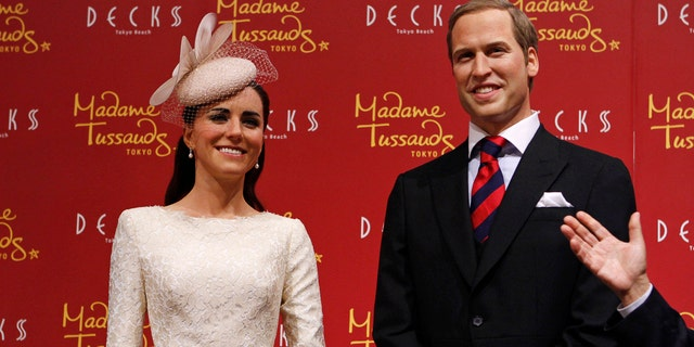 Kate Middleton and Prince William figures at Madame Tussauds.