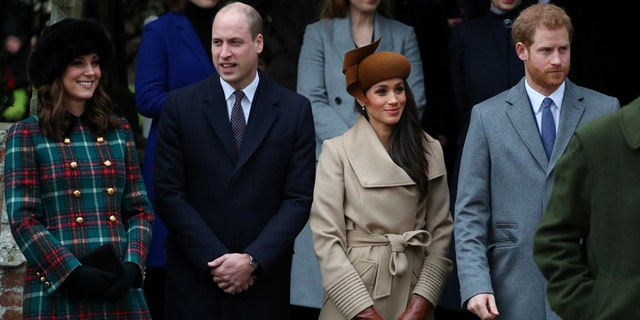 Left to right: Duchess Kate, Prince William, Meghan Markle and Prince Harry stand outside of  Church of St. Mary Magdalene on Christmas Day.