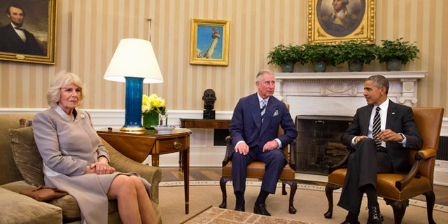 March 19, 2015: President Barack Obama meets with Britain's Prince Charles, and his wife Camilla, the Duchess of Cornwall in the Oval Office of the White House  in Washington.