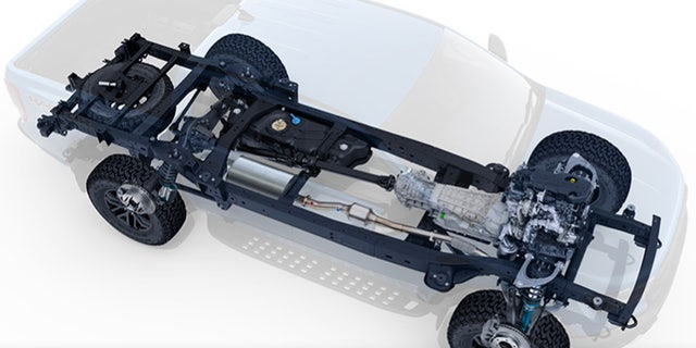 The Ranger Raptor gets a beefed-up frame, plus frame-mounted steel bumpers and tow hooks.