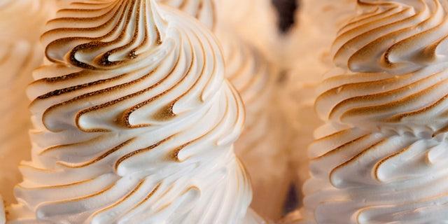 Closeup of Baked Alaska .