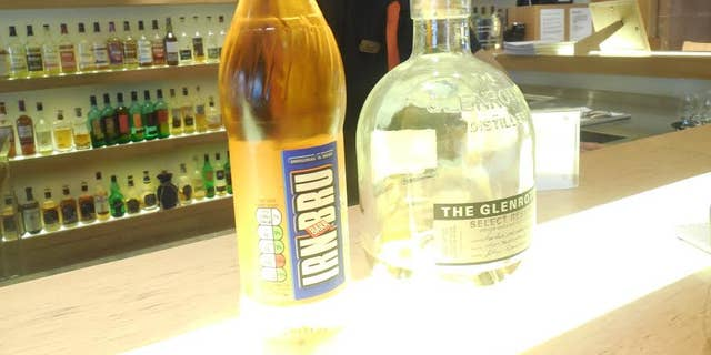 Soft drink for kids and whisky for adults at Scotch Whisky Experience in Edinborough.