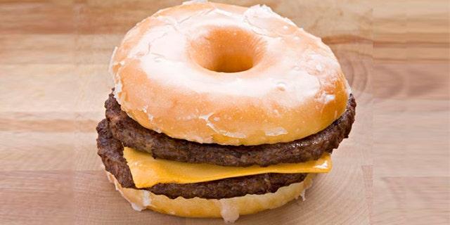 double cheeseburger with glazed donut bun