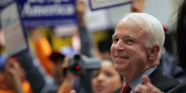 Sen. John McCain smiles during a rally in support of the 'Secure America and Orderly Immigration Act of 2005' in New York.