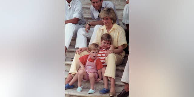 Princess Diana of Wales smiles while sitting with her sons, Princes Harry, and William, on the steps of the Royal Palace of Mallorca, Spain.