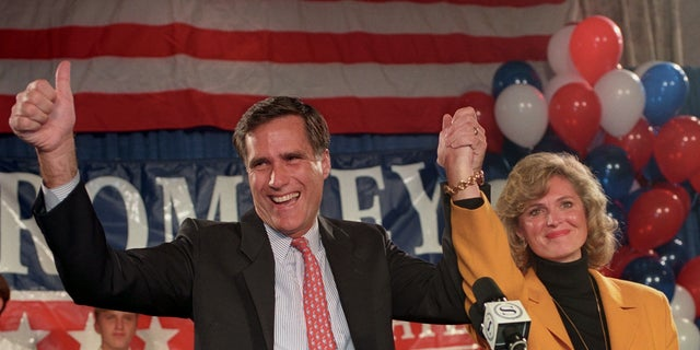 In this 1994 photo, Mitt Romney and his wife Ann thank supporters after he won the Republican nomination for Senate. Romney would lose the race to incumbent Sen. Ted Kennedy, D-Mass.