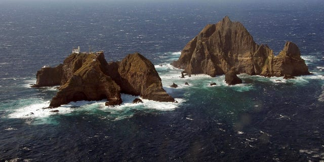An aerial view shows a part of the group of islets known in South Korea as Dokdo and in Japan as Takeshima in the Sea of Japan.