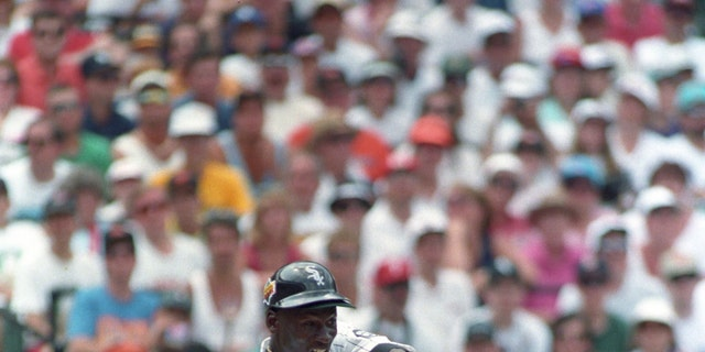 Chicago Bulls basketball player Michael Jordan hits the ball during a celebrity home run hitting contest as part of the Baseball All Star game festivities in Baltimore, Maryland  July 12, 1993. REUTERS/Joe Giza (UNITED STATES SPORT BASEBALL)  BEST QUALITY AVAILABLE - RTR26HFL