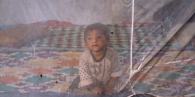 One and a half-year-old Reema sits under a mosquito net while taking shelter with her family under a bridge in Karachi October 19, 2011. REUTERS/Athar Hussain (PAKISTAN - Tags: SOCIETY) - RTR2SUMA
