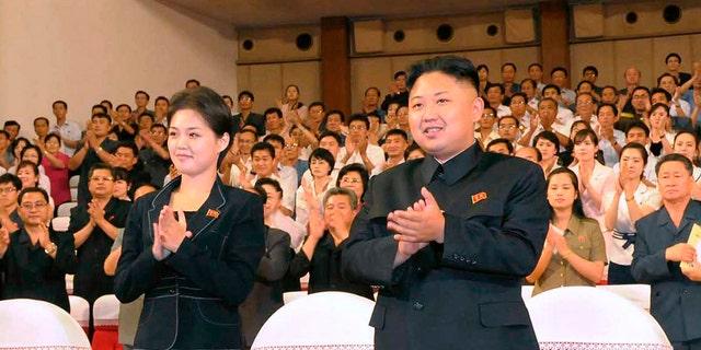 North Korean leader Kim Jong-un with his wife Ri Sol Ju