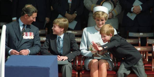 The Prince of Wales, Prince William, Princess Diana and Prince Harry attend the Heads of State Ceremony in Hyde Park to commemorate the 50th anniversary of Victory Day in Europe.
