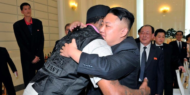 Dennis Rodman embraces Kim Jong Un during a visit to North Korea in 2013.