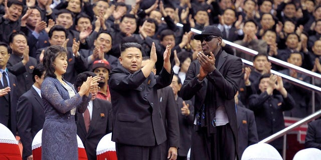 Dennis Rodman joined Kim Jong Un and his wife, Ri Sol Ju, for an exhibition basketball game in Pyongyang.