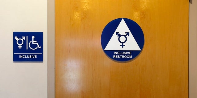 A gender-neutral bathroom is seen at the University of California, Irvine in Irvine, California. The Trump administration revoked federal guidelines that allowed public school students to use restrooms and other facilities that corresponded with their gender identity, not necessarily the sex they were assigned at birth.