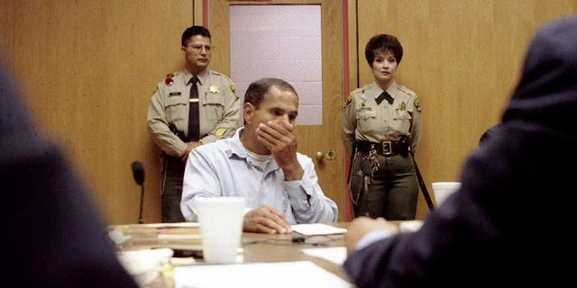 Sirhan Sirhan pleads his case during his tenth parole hearing at the Corcoran State Prison June 18, 1997.
