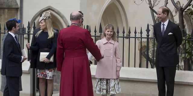 Lady Louise Mountbatten-Windsor, in the pink coat, is the oldest child of Prince Edward.