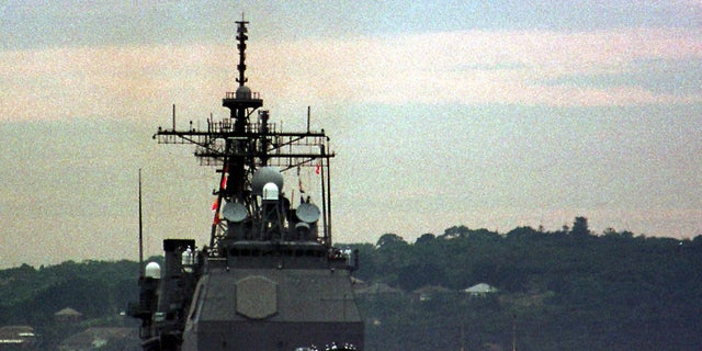 The guided missile cruiser USS Lake Champlain is seen entering the Sydney Harbor in 1998. It collided with a South Korean fishing vessel in the Sea of Japan in May 2017.
