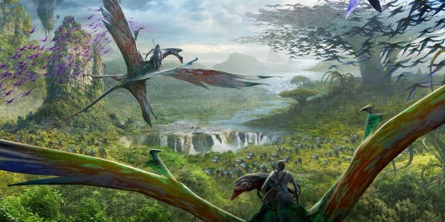 Concept art of the soaring Banshees that will come to life in the mythical world of Pandora.