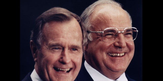 Helmut Kohl with President George Bush during Bush's visit to Germany in 1989.