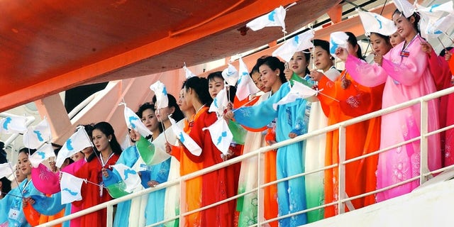 The North Korean cheer squad made its first appearance in the 2002 Asian Games in Busan.